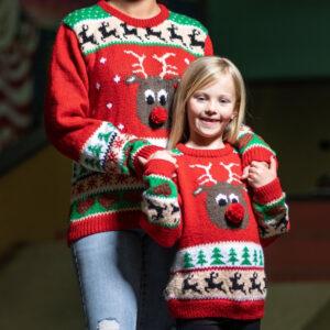 Pappersmönster stickad jultröja till dam & herr
