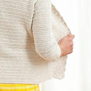Virkad cardigan Linen & Lace – pappersmönster (engelska)