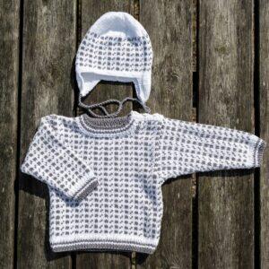 Mönster stickad baby/barntröja & mössa 2707