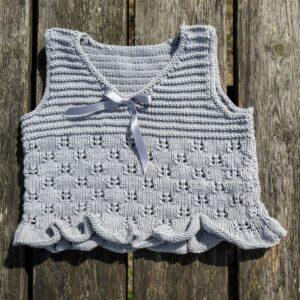 Mönster stickad baby-barnkofta, linne & byxa 2718