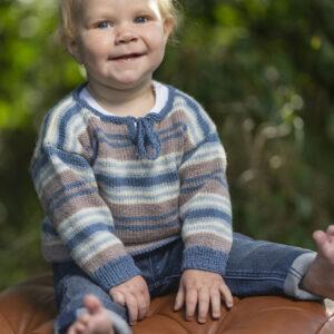 Mönster stickad babytröja & mössa 2719