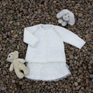 Mönster stickad baby-barnkofta 2729
